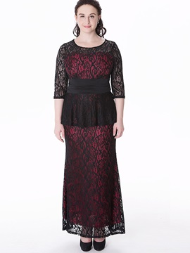 Contrast 3/4 Sleeve Two in One Maxi Dress