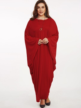 Solid Batwing Sleeve V-Neck Maxi Dress