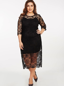 Print Round Neck Hollow Lace Dress