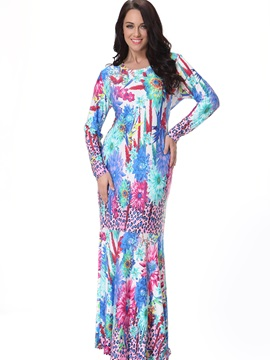 Print Leopard Mermaid Maxi Dress