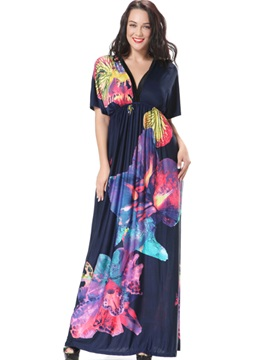 Floral Print V-Neck Batwing Sleeve Maxi Dress