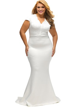 V-Neck Diamond Mermaid Maxi Dress