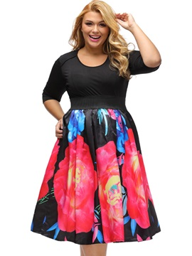 Floral Print Round Neck Empire Waist Skater Dress