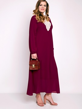 Multi-colored Long Sleeve Plus Size Maxi Dress