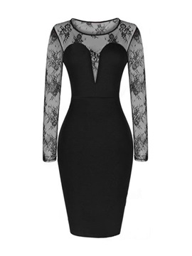 Black Lace Patchwork Floral Print Bodycon Dress