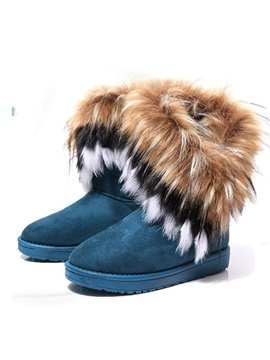 Faux Fur Round Toe Women's Flat Snow Boots