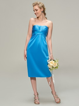 Strapless Sheath Knee-Length Bridesmaid Dress & simple Featured Sales