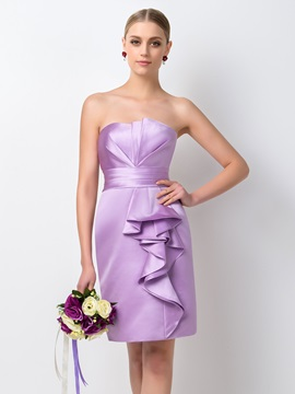 Concise Strapless Sheath Short Purple Bridesmaid Dress & Featured Sales under 500