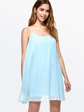 Casual Style Pleated Shift Dress