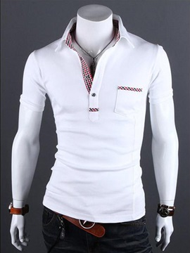 Fashion Cotton One-pocket Men Polo