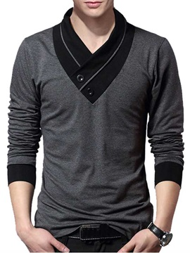Men's V-Neck Patchwork Long Sleeve Sweater