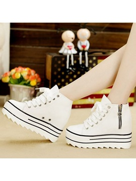 Breathable Zippered Platform Sneakers