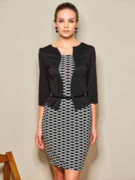 Patchwork Two in One Work Bodycon Dress