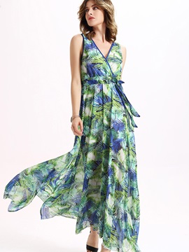 Sisjuly® V Neck Print Belt Maxi Dress