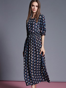Sisjuly® Round Neck Half Sleeve Print Maxi Dress