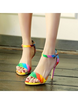 Contrast Color Covering Heel Sandals