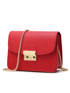 Pure Color Latch Decorated Women's Shoulder Bag
