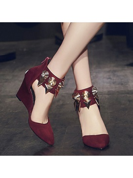 Suede Studded Back-Zip Wedge Sandals