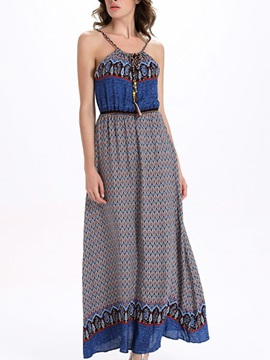 Sisjuly® Ethnic Sleeveless Print Maxi Dress