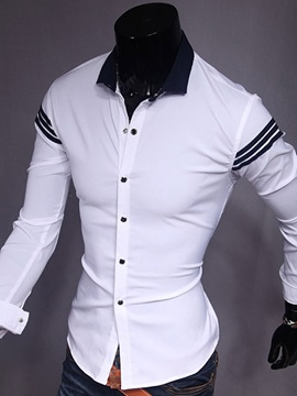 Stripe Slim Fit Men's Long Sleeve Shirt