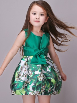Multicolor Lace-Up Girl's Dress