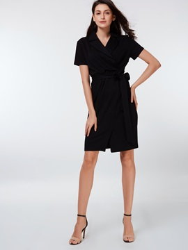 V-Neck Short Sleeve Ruffled Day Dress