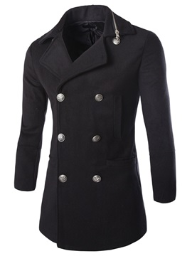 Plain Double-Breasted Men's Notched Collar Trench Coat