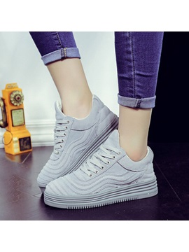Suede Thread Lace-Up Platform Sneakers