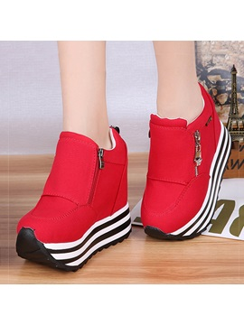 Solid Color PU Zippered Platform Sneakers