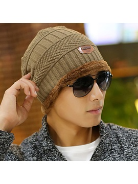 New Style Warm Plush Knitted Cap for Men