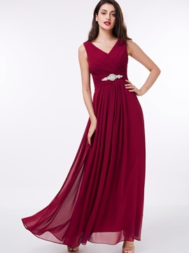 V-Neck Pleats A-Line Pleats Beading Evening Dress & Featured Sales for sale