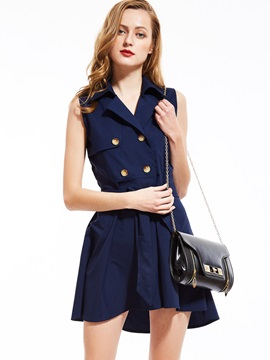 Lapel Double-Breasted Sleeveless A-Line Dress