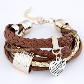 Metal Heart Decorated Multi-layers Bracelet