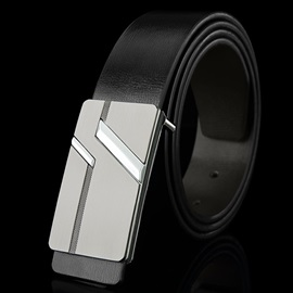Stylish Smooth Metal Buckle Men's Belt