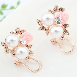 Sweet Pink Flower & Pearls Women Earrings