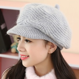 Elegant Warm Pure Color Knitted Hat