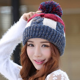 Winter Thicken Color Block Women's Hat
