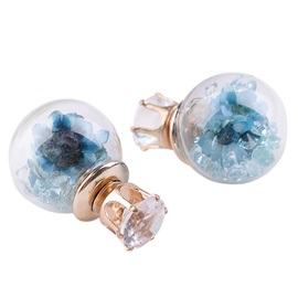 Spherical Blue Flowers Design Stud Earrings