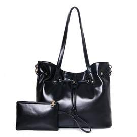 Waxy Leather Drawstring 2 Pieces of Bag Sets