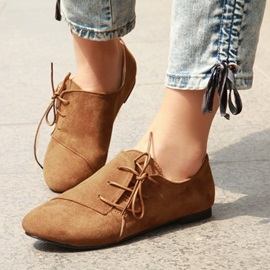 Solid Color Lace-Up Women's Flats