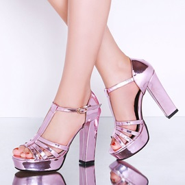 Chic Sequins T-Strap Chunky Heel Sandals