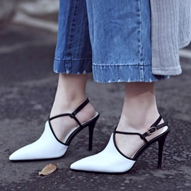 Contrast Color Pointed Toe Buckles Sandals