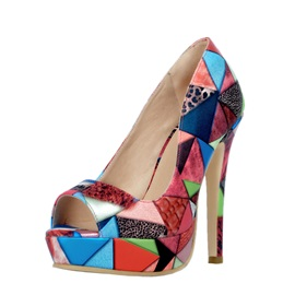 Geometric Printed Peep-Toe Pumps