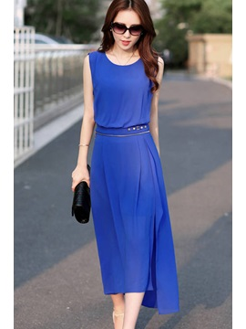 Round-Neck Sleeveless Zipper Decorated Waist Solid Color Maxi Dress
