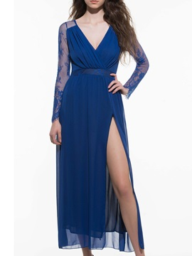 Dark Blue V-neck Lace Split Maxi Dress