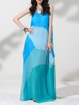 Bohemain Chiffon Pieced Maxi Dress