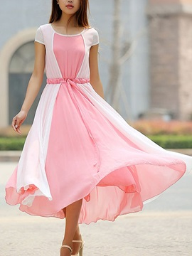 Pink and White Pleated Chiffon Day Dress