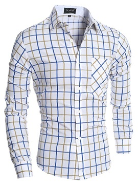 Color Block Plaid Lapel Men's Cotton Shirt