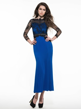 Contrast Color Long Sleeve Mermaid Maxi Dress