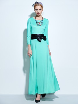 Round Neck 3/4 Sleeve Maxi Dress